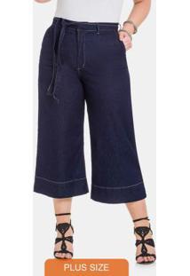 Calca Pantacourt Com Elastano Jeans Escuro
