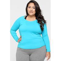 67808d77b1 Camiseta Plus Size Gonew Manga Longa Feminina - Feminino-Azul Claro