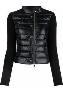Moncler Knitted-Sleeve Button-Up Padded Jacket - Preto