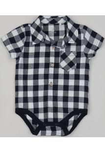 Body Camisa De Flanela Infantil Estampado Xadrez Manga Curta Preto