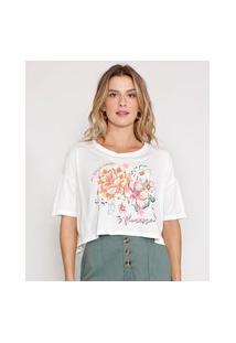 Camiseta Cropped De Viscose Floral Manga Curta Decote Redondo Off White