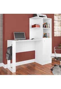 Mesa Para Computador Com 1 Porta E 7 Prateleiras Califórnia Es1300- Art In Móveis - Branco