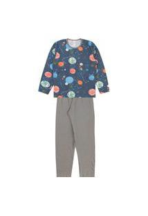 Pijama Infantil Masculino Cinza Espaço Kappes