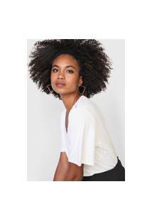 Camiseta Maria Valentina Gola V Off-White