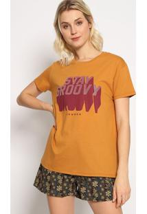 "Camiseta ""Stay Groovy"" - Marrom & Bordã´ - Sommersommer"