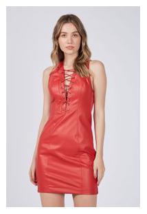 Vestido Leather Faux Trançado Vermelho