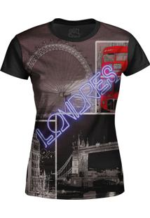 Camiseta Estampada Baby Look Over Fame Londres Preto