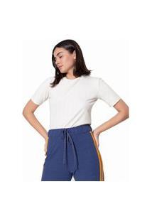 T-Shirt Leboh Decote Redondo Canelada Bege