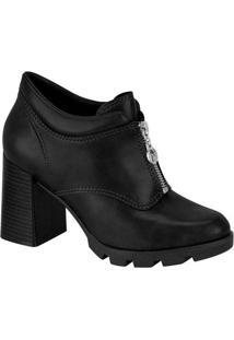 Ankle Boots Feminino Conforto Zíper Preto