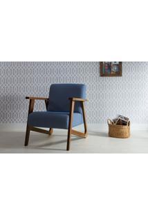 Poltrona Para Quarto - Poltrona Individual De Madeira Estofada Cor Azul Claro - Verniz Capuccino \ Tec.930 - Lis 72X81X81 Cm