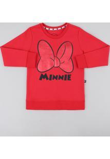 Blusão Infantil Minnie Em Moletom Manga Longa Vermelho
