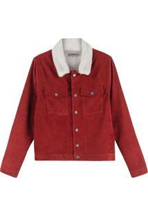 Jaqueta Vermelha Em Veludo Com Pelúcia