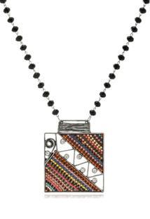 Colar Le Diamond Prata Envelhecida Com Maxi Pingente Quadrado - Prata - Feminino - Dafiti