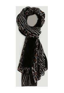 Lenço Feminino Estampa Onça Zebra Marisa