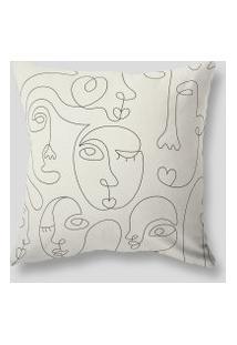 Amaro Feminino Design Up Living Capa De Almofada Faces 42X42, Off-White