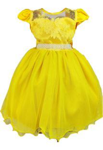 Vestido De Festa Infantil Temático Amarelo Com Manga Bela E A Fera