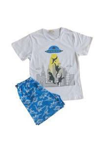 Pijama Curto Infantil Masculino Lua Encantada 0390 Branco