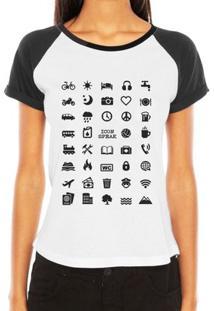 Camiseta Raglan Criativa Urbana Viajante 40 Icon Speak - Feminino