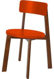 Cadeira Lina Cor Cacau Com Laranja Vivo - 31545 - Sun House