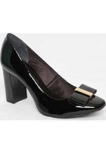 Sapato Em Couro Envernizado- Preto- Salto: 8,5Cmjorge Bischoff