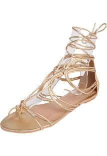 Rasteira My Shoes Gladiadora Dourada