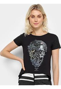Camiseta Acostamento Caveira Floral Feminina - Feminino-Preto