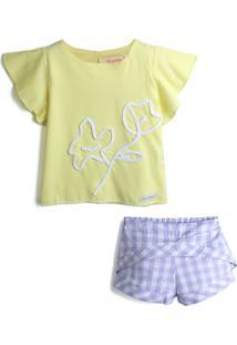Conjunto 2Pçs Green Curto Menina Estampa Amarelo/Roxo