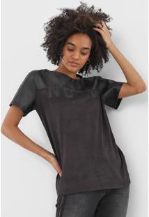Camiseta Forum Suede Noir Preta - Preto - Feminino - Poliã©Ster - Dafiti