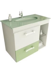 Gabinete Linea 12 80 Cm 1 Porta 1 Gaveta Branco & Verde