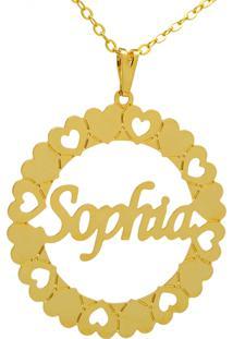 Gargantilha Horus Import Pingente Manuscrito Sophia Banho Ouro Amarelo