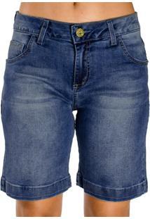 Bermuda Jeans Pespontos Destonada Detalhes Dourados Realist