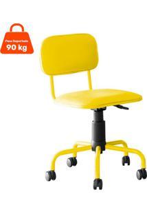 Cadeira De Escritório Secretária Giratória Color Pistão A Gás Corano Amarelo