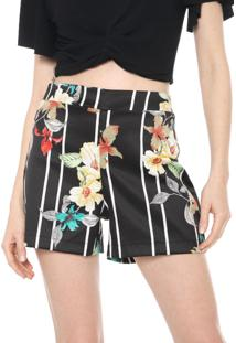 Short Mercatto Estampado Preto