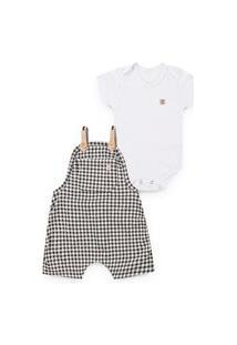 Xainha Kids - Conjunto Bebê Infantil Jardineira Xadrez E Body Branco - Xk-2101.1