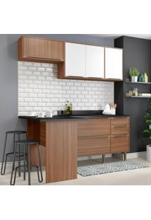 Cozinha Compacta Calábria 6 Portas Com Tampo E Pés Nogueira/Branco - Multimóveis