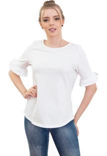 Camiseta Manga Curta Branca Romântica 4Ás