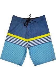 Bermuda Canal Surf Com Listras Masculina - Masculino-Azul+Branco