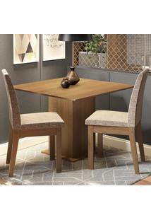 Conjunto Sala De Jantar Madesa Tatá Mesa Tampo De Madeira Com 2 Cadeiras Marrom - Tricae