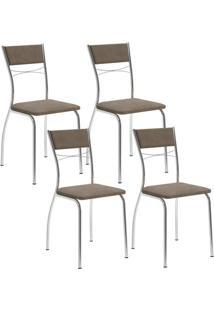 Cadeira 1701 Cromada 04 Unidades Camurça Conhaque Carraro