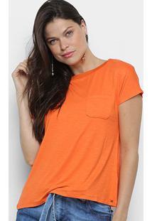 Camiseta Mob Básica Bolso Feminina - Feminino-Laranja