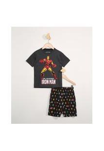 Pijama Infantil Manga Curta Homem De Ferro Cinza Mescla Escuro