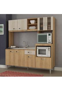 Cozinha Compacta Tati 8 Portas Sem Tampo Carvalho/Blanche - Fellicci