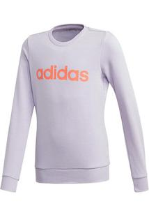 Blusa Moletom Infantil Adidas Yg E Linear Sweat Feminina - Feminino-Roxo