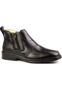 Botina Masculino 916 Em Couro Floater Doctor Shoes - Masculino-Preto