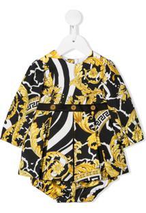 Young Versace Vestido Com Estampa Brocada - Preto