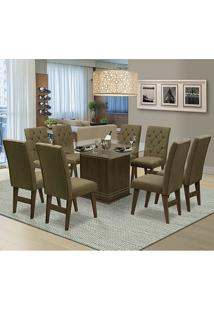 Mesa Para Sala De Jantar Saint Louis Com 8 Cadeiras – Dobuê Movelaria - Castanho-Rt / Castor
