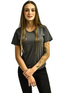 Camiseta Rich Young Baby Look Básica Lisa Malha Cinza Chumbo