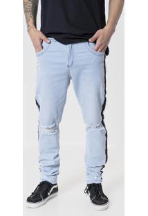 Calça Jeans Aero Jeans Skinny Destroyed Azul Com Listras