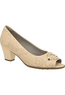 Peep Toe Floral- Bege Claro & Dourado- Salto: 5Cmpiccadilly