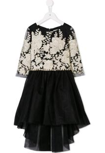 David Charles Kids Vestido Com Bordado - Preto